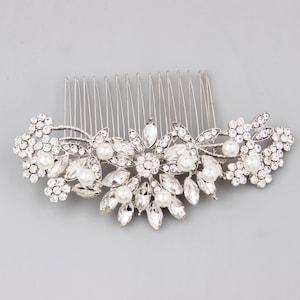 Bridal Hair Comb Silver, Pearl Hair Comb, Wedding Hair Comb, Crystal Hair Comb, Bridal Headpiece, Bridal Hair Accessories, Floral Hair Piece