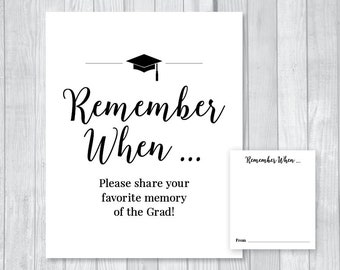 Favorite Memories of Grad 8x10 Graduation Party Printable Sign and Matching Cards - Class of 2018 - High School, College - Instant Download
