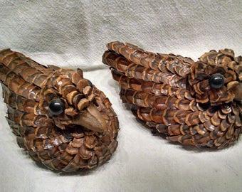 Pine Cone Ducks / Handmade Ducks / Pair Of Ducks / Northwoods Decor /  Miniature Pine Cone Ducks / Retro Country Decor / Pine Cone Art