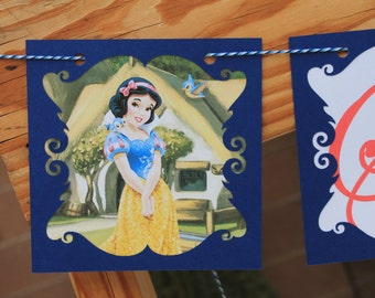 Personalized Snow White Party Decorations Banner - FULLY ASSEMBLED - Birthday -Princess - Party - Celebration - Themed - Photo Shoot
