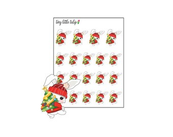 Planner Stickers Christmas Bunny w/ a Tree