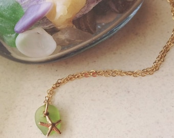 Seaglass and Starfish GF Necklace