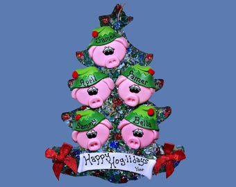 Pig Elf (5) ornament Personalized Family tree