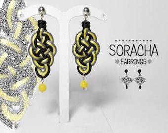 Soracha 2 earrings. Fabric, knot, Celtic knotwork earrings.