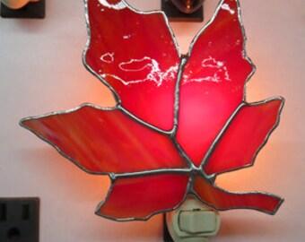 Leaf x5 Night lights - Oak/Maple - Maple Leaves - Oak Leaves - Ladybug Leaf - Stained Glass & Fused Glass Nightlights -