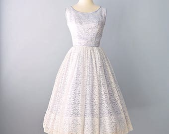 1950s Party Dress...Pale Blue with White Lace Party Dress Alternative Wedding Dress