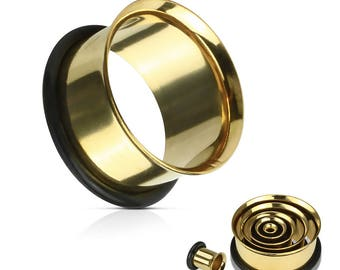 "Single Flared Tunnels Surgical Steel (Ionized Plating: Gold) 1/2"" -1"""