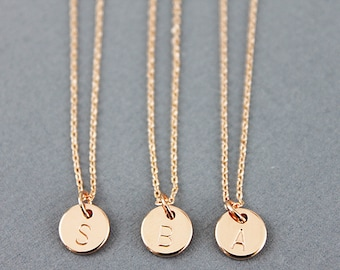 Hand Stamped Tiny Circle Necklace Engraved Rose gold Initial Necklace Tiny initial Charm Necklace Letter Necklace Alphabet Necklace
