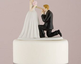 Bride and Groom Porcelain Wedding Cake Topper- 3 different skin tones available - hair personalisation available