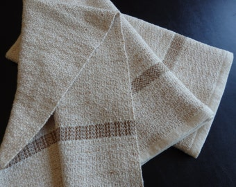 Organic Cotton Hand Towel Handwoven in Natural and Brown