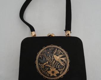 Rare Vintage 1960's Black Silk Box/Vanity/Make Up/Minaudiere/Necessaire Evening Bag with Toledo Ware (Damascene) Decoration