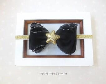 Black and Gold Baby Headband, Baby Bow headband, Big Bow Baby head band, Gold newborn headband, girl hair bow, toddler headband, baby bow