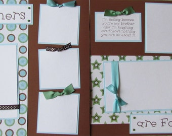 Scrapbook Pages 12x12 premade layout -- BROTHERS ARE FOREVER -- BoYs, little brother, big brother, family, siblings, love, twins, funny