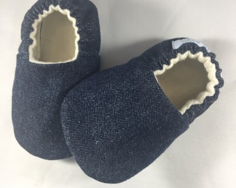 Navy Denim shoes, Baby Shoes, Baby Slippers,Navy Denim, Gender Neutral, baby shower gift, cotton denim, crib shoes, soft sole shoes, vegan