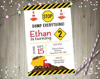 Dump truck Construction Birthday Party Invitation Invite Photo Picture boy birthday party printable invitation 2nd birthday 3rd birthday