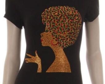 Gold Afro Girl Rhinestud Iron on Shirt