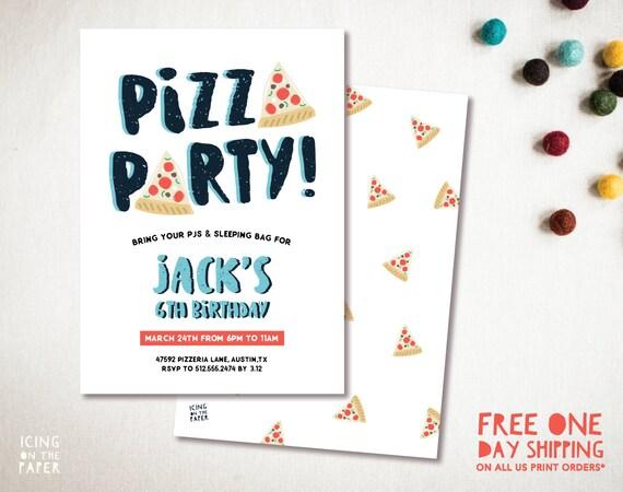 PIZZA PARTY Invitation Digital Custom Printable