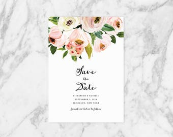 Printable Save the Date, Garden Wedding Save the Date, Floral Save the Date, Blush Floral