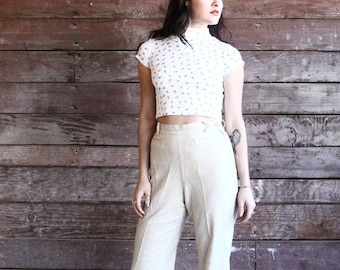 vintage high waisted trouser - natural light brown pant - 90s minimalist clothing - small petite