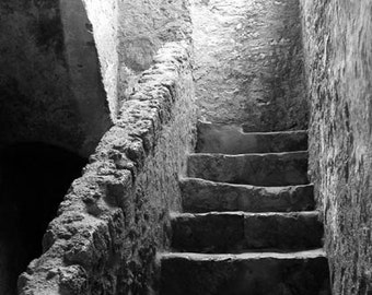 Texas Series:  Into the Light Mission Concepcion Stairwell, Black and White 8x10 Fine Art Photograph, Mission Art Staircase Print, Stairwell