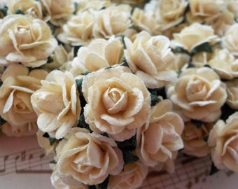 """100 Paper Roses, Ivory Paper Roses, Mulberry Paper Roses, Card Making, Embellishments, Wedding Roses, Paper Flowers, Vintage Rose, 10mm/0.4"""""""