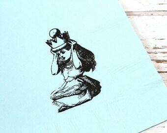Alice in Wonderland Napkins - Set of 25 - 3 ply, 1/4 fold Luncheon napkins