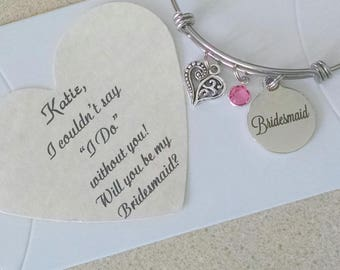 Gifts for Bridesmaids, Bridemaid Bracelet, Bridesmaid Proposal, Bridesmaid Ask, Adult Adjustable, Leave Names for Cards when you check out