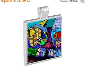 HUGE SALE- Cat Necklace Animal Folk Art Jewelry - Pendant Metal  Gift Art Heather Galler Gift- Cat Lovers Abstract Modern Colorful Vegan