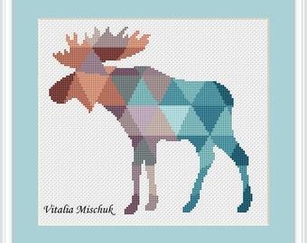 cross stitch elk,cross stitch animals,cross stitch modern,original cross stitch,picture of elk,Geometric cross stitch,point de croix PDF