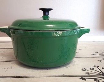Covered Cast Iron Pot with Lid Enamel Pot Cooking Pot Kitchen Cookware  Belgium Forest Green Enamelware