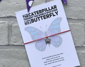 Butterfly Wish bracelet, Butterfly string bracelet, Butterfly charm bracelet, Caterpillar inspirational quote, pocket money gift