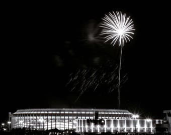 Picture of Veterans Stadium and The Spectrum | Architectural & fireworks photograph for office, living room, bedroom | Philadelphia Phillies