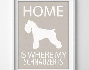 Schnauzer dog lover custom name wall art print  for home decor or housewarming gift