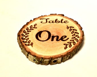Rustic Event Table numbers ~ Wood slice laser burned ~ Woodland Parties ~ Baby Shower, Barn Wedding ~ Spring, Summer, Fall, Winter Weddings
