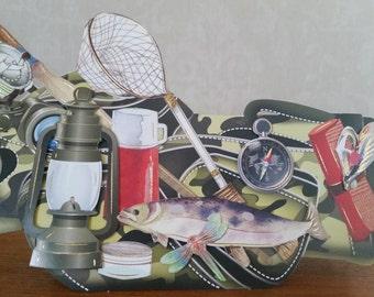 Fishing bag shaped card