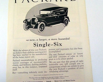 1922 Packard Single Six Original Magazine Print Page, Cad Ads, Vehicle Car, Vintage Magazine Ad, The Great Gatsky, Car Print Ad, Vintage Car