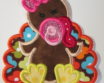 Baby Girl and Baby Boy Turkeys - Iron on or Sew on Applique Patches for Thanksgiving