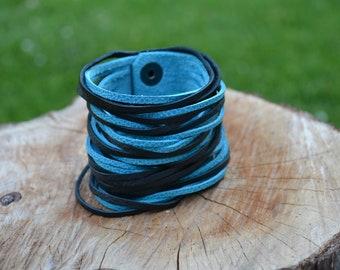 Leather layered cuff two-tone - Handmade customizable