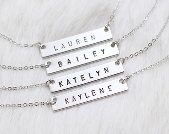 Silver Bar Necklace + Personalized Name + Custom Bar Necklace + Personalized Necklaces + Name Necklace + Bridesmaid Necklace + Christmas