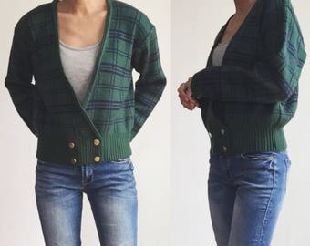 Vintage Knit Cardigan, 80s Cardigan, 80s Sweater, Vintage Plaid Sweater, Vintage Plaid Cardigan