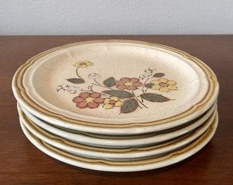 "Vintage Crown Manor ""Floral Garden"" Hand Painted Stoneware Salad Plate Set"