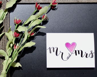 Hand Lettered 5x7 Mr and Mrs Greeting Card Wedding/Anniversary Customizable