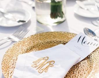 Monogrammed Napkins Linen-Like 20x20 Set of 6 Font Shown INTERLOCKING in gold