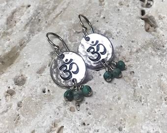 Silver and Turqouise OM Earrings, Yoga Earring, Boho Earring