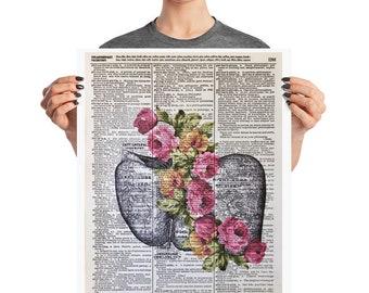 Anatomical Liver Print, Liver Illustration, 16x20 Poster Size, Human Liver Print, Liver With Flowers, Anatomical Artwork, Liver Pictures