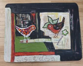 floorcloth floor mat black beige red bathroom mat kitchen mat birds primitive funky floor cloth