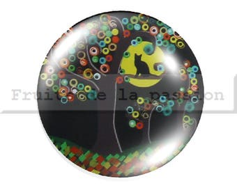 Set of 2 cabochon 16mm, nature, trees, multicolored round glass