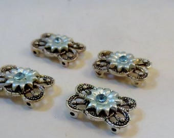 Double Strand Antique Silver Blue Flower and Rhinestone, Plated Pewter Link, Connector, Spacer Bar Findings, 4 pieces