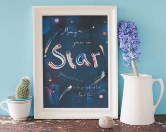 Night sky Mother's Day print,Mummy you're our star print,my star,your child's quote, art print,hand lettering,personalised, wall art,for her