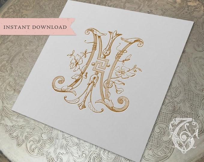 Vintage Wedding Monogram NI IN Digital Download N I
